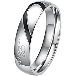 "His or Hers (Priced Separate)""Real Love"" Heart Stainless Steel Band Ring Promise Ring Valentine Love"