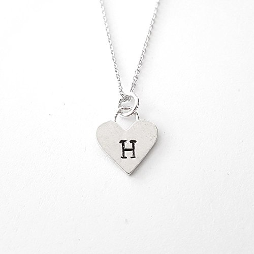 Heart Initials Necklace - Personalized Sterling Silver Heart Letter