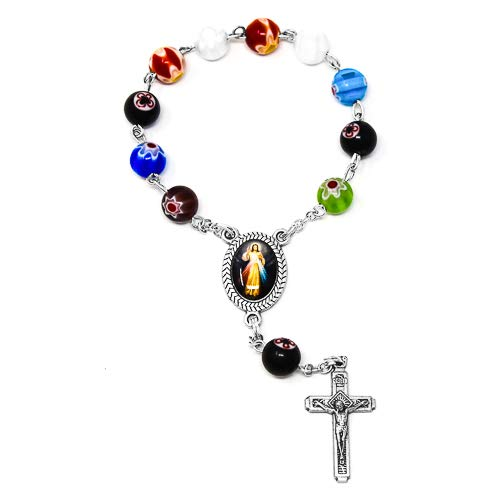 Murano Rosary Crucifix - One Decade Rosary Beads, Single Decade Divine Mercy Rosary with Murano Glass Beads and Silver Crucifix & Lourdes Prayer Card