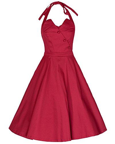 Daroj Femmes 1950 Audrey Hepburn De Licol Robe De Soirée Cocktail Cou Cravate Rouge