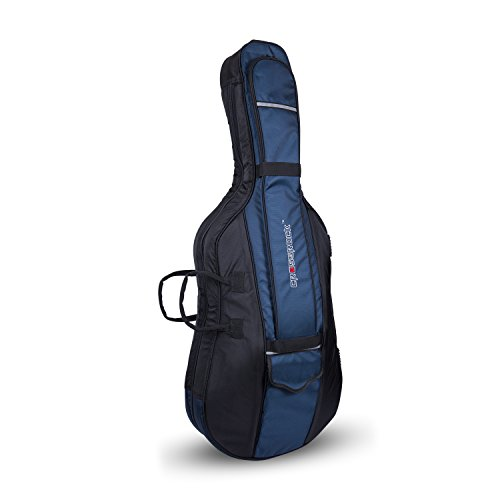 - Crossrock CRDC206CEF Cello Bag, 20mm Padded Bag for 4/4 Full Size Cello (Blue)