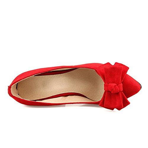 Solidi scarpe Tiro Punta Indicata Femminile Sulla Weenfashion Chiuse Pompe Tacchi Imitati Rosse Scamosciata wTSPxwU0