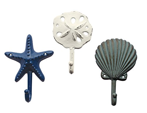 Sea Treasures Wall Hooks - Set of 3 - Antique Weathered Hangers for Coats, Aprons, Hats, Towels, Pot Holders - Scallop, Sand Dollar, Sea Star / Starfish (Beach Hand Towel Hooks)