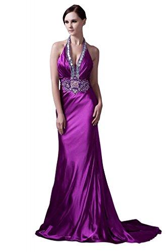 Rueckenfrei BRIDE GEORGE reiz V Ausschnitt Lila Neuester lila Abendkleid Entwurfs Uqdd4wYWC