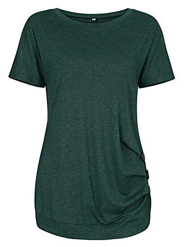 Nero Maglietta Donna Mae da Summer Corta O Sciolto Cotone Manica Verde Top Collo Solido in nFxf6tqwd6