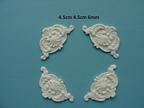 - PC1 Decorative plume corners x 4 applique onlay furniture moulding