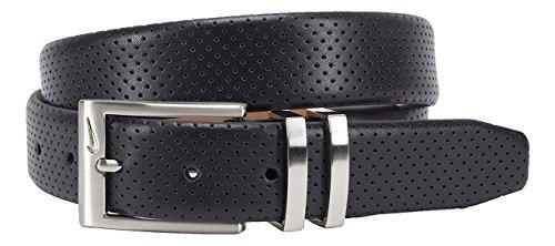 Nike Men's Belt Pin Dot Embossed Premium - Black, 36