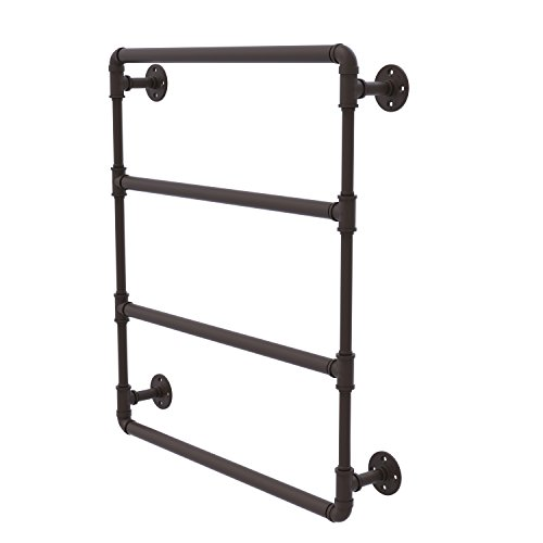 Allied Brass Dottingham Collection - Allied Brass P-280-24-LTB-ORB Dottingham Collection 18 Inch Towel Bar with Integrated Hooks Pipeline Wall Mounted Ladder, 24