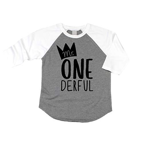 Olive Loves Apple Mr One-Derful Baseball Tee Shirt for Boys 1st Birthday Shirt,Gray 3/4 Sleeve,18 - Shirt First Baseball