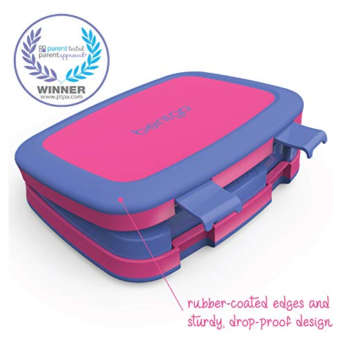 Bentgo Kids Brights - Leak-Proof, 5-Compartment Bento-Style Kids Lunch Box - Ideal Portion Sizes for Ages 3 to 7 - BPA-Free and Food-Safe Materials (Fuchsia)