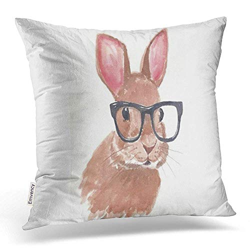 - Accrocn Throw Pillow Covers Cute Funny Easter Bunny Rabbit Glasses Pillowcases Polyester 20 X 20 Inch Square with Hidden Zipper Home Sofa Cushion Decorative Pillowcase