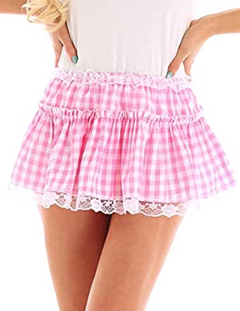 inlzdz Women's Pleated Lace Hem Gingham A-line Mini Skirt Sissy Adult Baby Crossdress Fancy Dress - Pink - Large