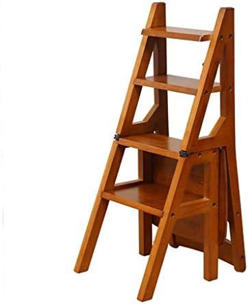 折りたたみステップ折りたたみ式木製ラダーチェアスツール多機能棚ラダーホームライブラリ4ステップ150kg容量(ハニーカラー)