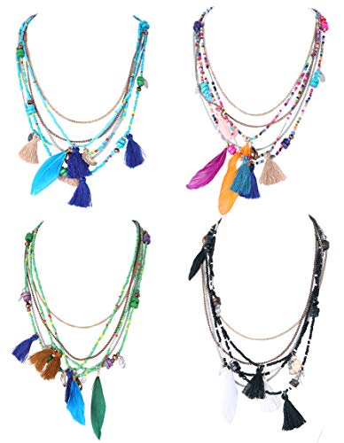 Subiceto 4 Pcs Vintage Necklace African Feather Tassel Pendant Multi Layers Tribal Bib Necklace Statement Necklace Jewelry Set