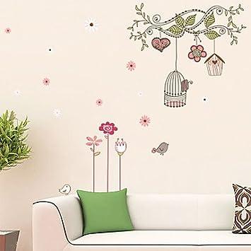 Pi vinilos decorativos para pared, dibujo de árbol jaula-PVC-pared ...