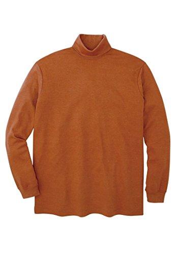 Cotton Interlock Turtleneck (KingSize Men's Big & Tall Turtleneck Long-Sleeve Cotton Tee, Heather Terracotta)