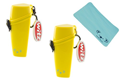 Koala Lifestyle Witz The Wrapper Floating Waterproof Sunglass and Glasses Case | Watertight Dry Protective Eyewear Holder for Outdoor Water Sports with Carabiner | 2pk Bundle + Cloth, Yellow
