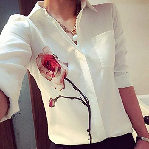 Elgante Office Revers Casual Fleur Motif Automne Haut Battercake Loisir Femme Blouse Longues Simple Printemps Dame Mode Chemise Chemisier Dame Boutonnage Manches Blanc Shirt Blouse xwHCwPqZ
