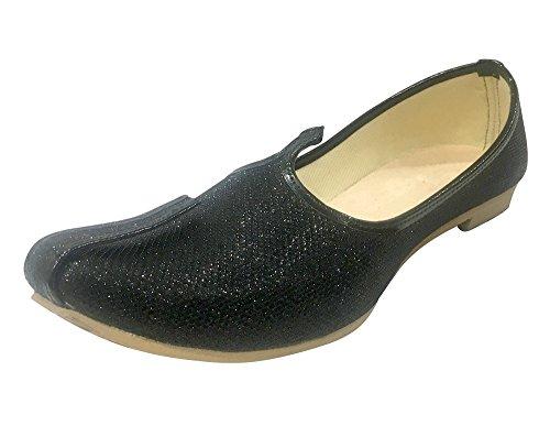 Step n Style Mens Black Glitter Sherwani Shoes Punjabi Jutiis Pakistani Khussa Mens Nagra Mojari (Shiner Glitter)