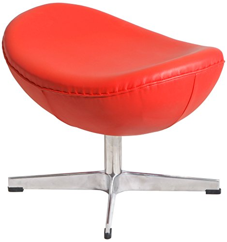 MLF Arne Jacobsen Egg Chair's Ottoman (5 Colors). 100% Imported Italian Leather & Hand Sewing. High Density Foam. 4 Star Satin Polished Aluminum Base. Strong Fiberglass Inner Shell.(Red)