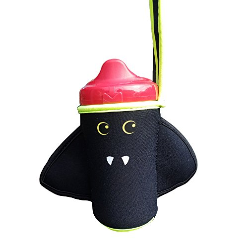 Sip 'n Throw - Sippy Cup Holder Strap Leash Tether to Stroller High Chair - Bat