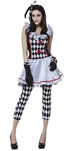 Bigood Women Lady Clown Lattice Fancy Dress Halloween Costume Party Outsuit (Lady Clown Costume)
