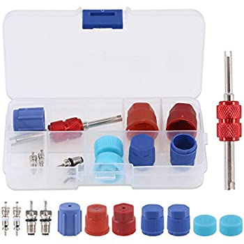 HITTIME 102PCS Air Conditioning Valve Core Accessories A//C HVAC R12 R134a Refrigeration Tire Valve Stem Cores Assortment with Remover Tool for Car Truck Repair