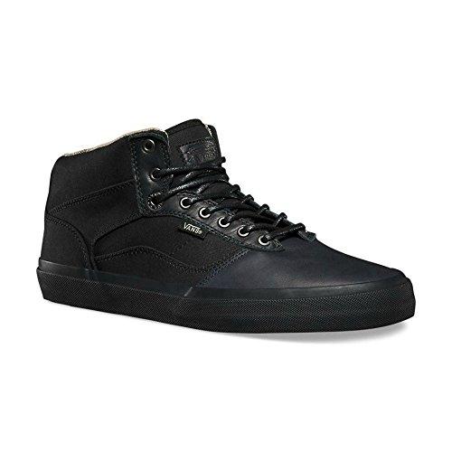 Vans Bedford Hombres Size 6.5 Fish Bones Negro / Negro Moda Skateboarding Zapatos De Cuero