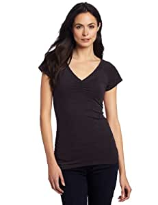 Royal Robbins Women's Essential Ruched Short Sleeve V-Neck T-Shirt, Jet Black, X-Small
