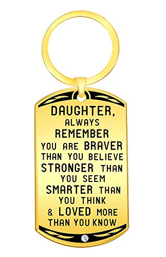 Motivational and Inspirational Quotes Jewelry Keychain Christmas Gift for Daughter- Always Remember You are Braver Stronger Smarter- Girls Keyring Best Xmas Presents for Women