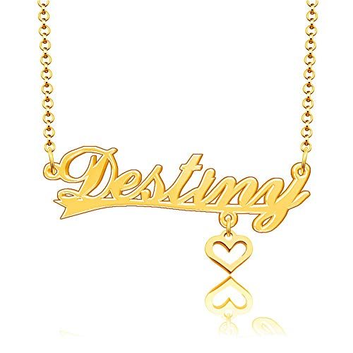 SexyMandala Personalized Custom Any Name Necklace 18K Gold Plated 925 Sterling Silver Heart Pendant Jewelry for Destiny