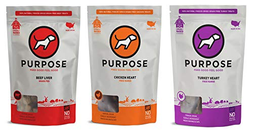 PURPOSE Freeze-Dried Raw Treats Variety Pack of 3 - Beef Liver, Chicken Hearts, and Turkey Hearts Raw Dog Treats and Cat Treats - Grain Free