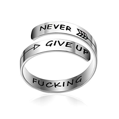 bestill Adjustable Ring Never Give Up Fucking Jewelry Personalized Stainless Steel Spiral Wrap Twist Rings Birthday Graduation Gifts for -