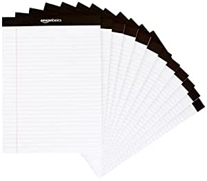 AmazonBasics Legal/Wide Ruled 8-1/2 by 11-3/4 Legal Pad - White (50 sheets per pad, 12 pack)