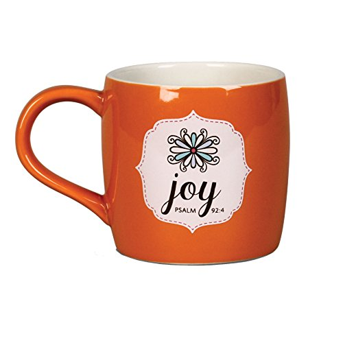 Lighthouse Christian Products Filled with Joy with 10 Scripture Cards Ceramic Mug, 14 oz