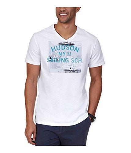 Nautica Men's Hudson Sailing School Graphic V-Neck T-Shirt, Bright White, XX-Large