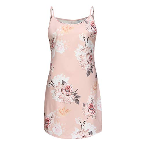 Sunhusing Ladies Sexy Sleeveless Halter Halter Casual Flower Print Strap Dress Holiday Round Neck Mini Dress Pink