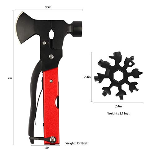 Camping Multitool 15 in 1 Outdoor Hunting Survival Tools Emergency Escape Tools Good Birthday Gift for Men Dad Husband Boyfriend, Tools Including Axe, Knife, Hammer, Snowflake Multitool Wrench