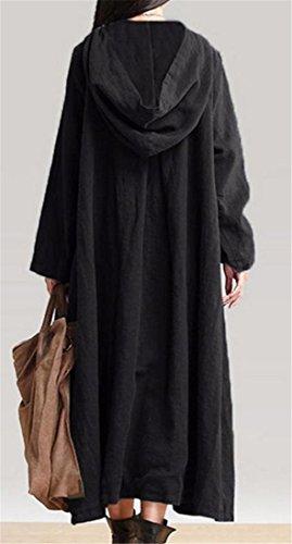 Cappotto Delle Nero Vestito Cromoncent Lunga Trincea Incappucciata Pulsante Donne Biancheria Loose Sx8YP8