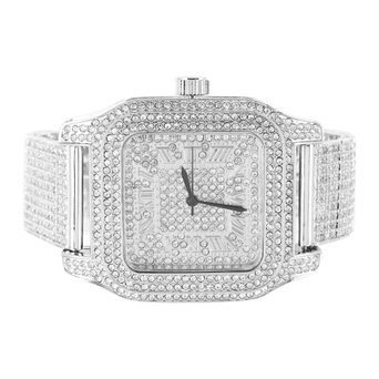 Mens Techno Pave Iced Metal Band Square Dial Lab Diamond Watch (Iced Out Square Watch)