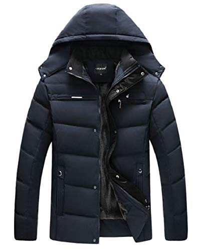 Gocgt Blue Navy Coats Hooded Outerwears Parka Men Cotton Jacket Padded FPFZq
