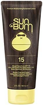 Sun Bum Original Moisturizing Sunscreen SPF 15 Lotion   Reef Friendly Broad Spectrum UVA/UVB   Water Resistant & Non-Greasy Protection, Hypoallergenic, Paraben Free, Gluten Free   SPF 15 - 3 oz. Tube
