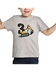 AMZTM 3rd Birthday Construction Party T-Shirt - 3 Years Old Toddler Kids Boy Tee