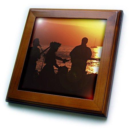 3dRose ft/_89557/_1 Musician Douglas Peebles US12 DPB0167 Hawaii Framed Tile hula dancer Maui 8 by 8-Inch