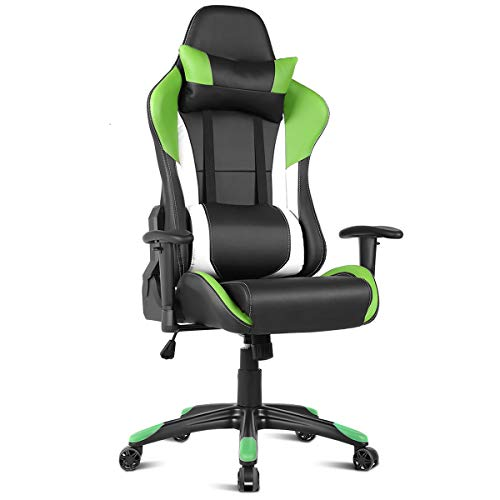 (Giantex Gaming Chair Racing Chair Ergonomic Office Chair w/High Back Lumbar Support and Pillow Executive Computer Task Desk Gaming Chair (Green))