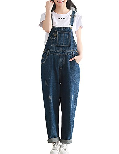 Innifer Women Basic Casual Loose Baggy Denim Bib Overall Pant Jeans Jumpsuits