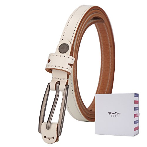 BISON DENIM Women's Stylish Thin Patent Genuine Leather Skinny Waist Belts For Dresses White 110cm (Braided Leather Reversible)