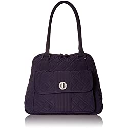 Vera Bradley Turn Lock Satchel Shoulder Bag, Classic Navy, One Size