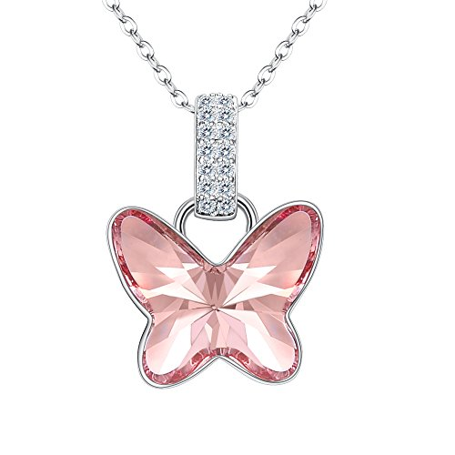 Crystal Bridal Pendant (Fanze 925 Sterling Silver CZ Dancing Butterfly Delicate Bridal Pendant Necklace Rose Pink Made With Swarovski Crystal)