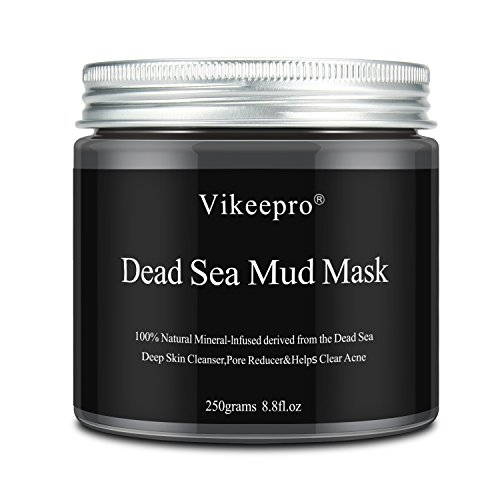 Vikeepro Dead Sea Mud Mask Blackhead Remover Facial Treatment Deep Cleansing for Face, Acne, Oily Skin - Exfoliation Minimizes Pores Reduces Acne Wrinkles